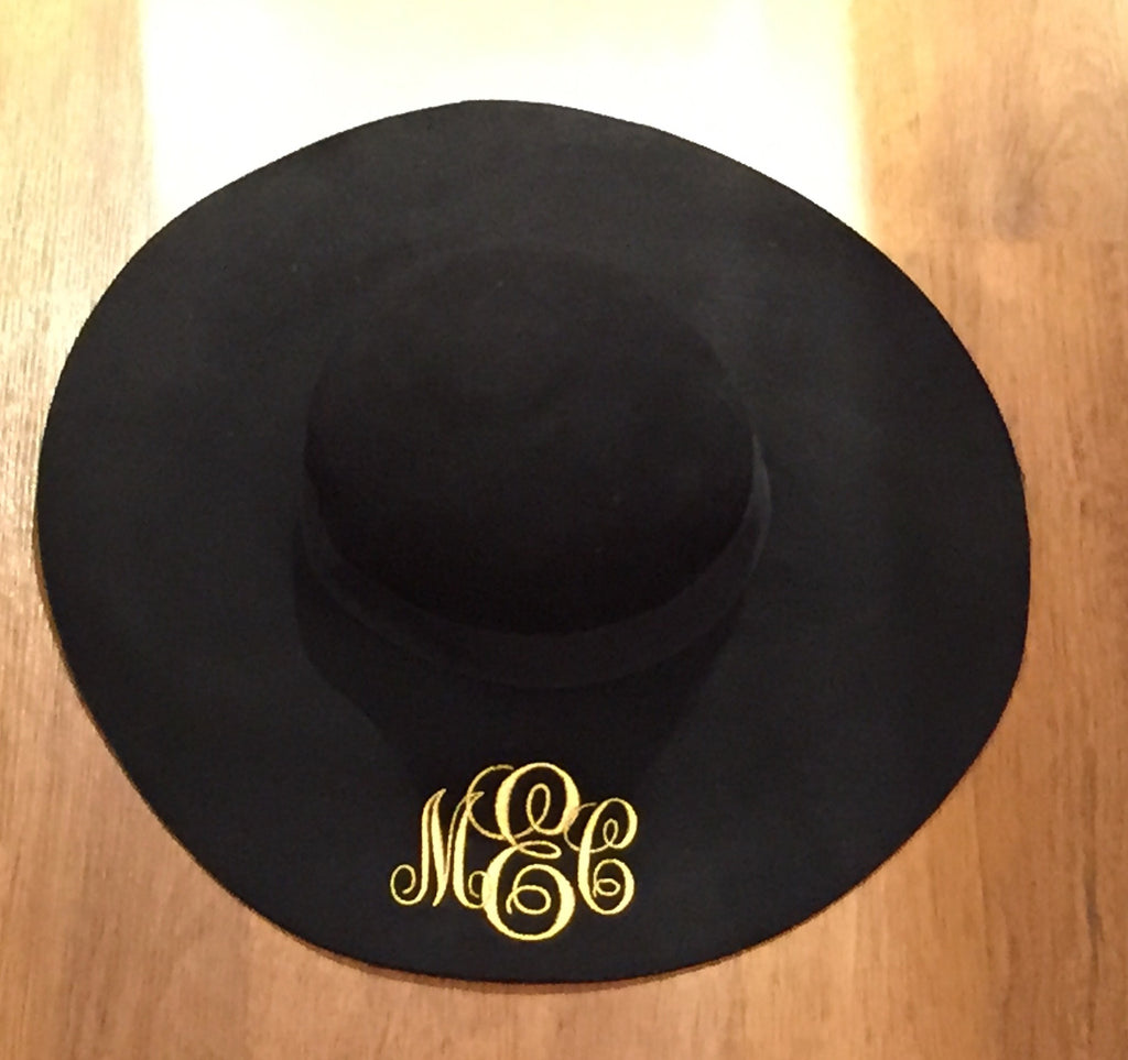 64f19990 Monogrammed Felt Floppy Hats-Black – Monogram Eye Candy