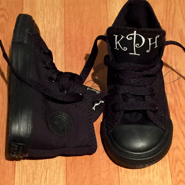 Monogram Toddler Converse Sneakers-All Black