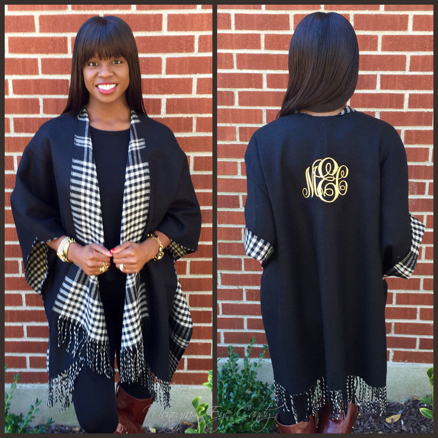 Monogrammed Colorblock Poncho- Plaid/Black