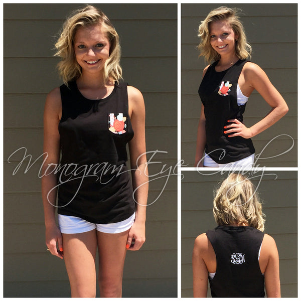 Monogram Pocket Tank-Black with Floral Print