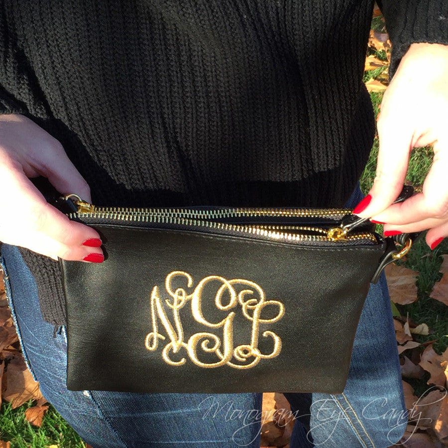 Double Zip Monogrammed Crossbody
