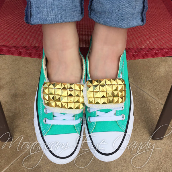Studded Converse Sneakers- Teal