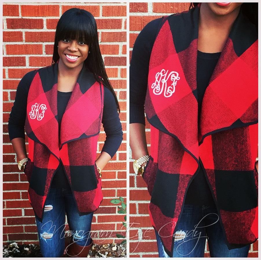 Monogrammed Buffalo Plaid Vest-Red/Black