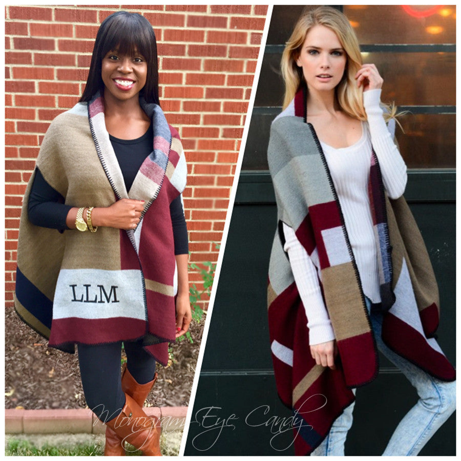 Monogrammed Colorblock Poncho- Wine