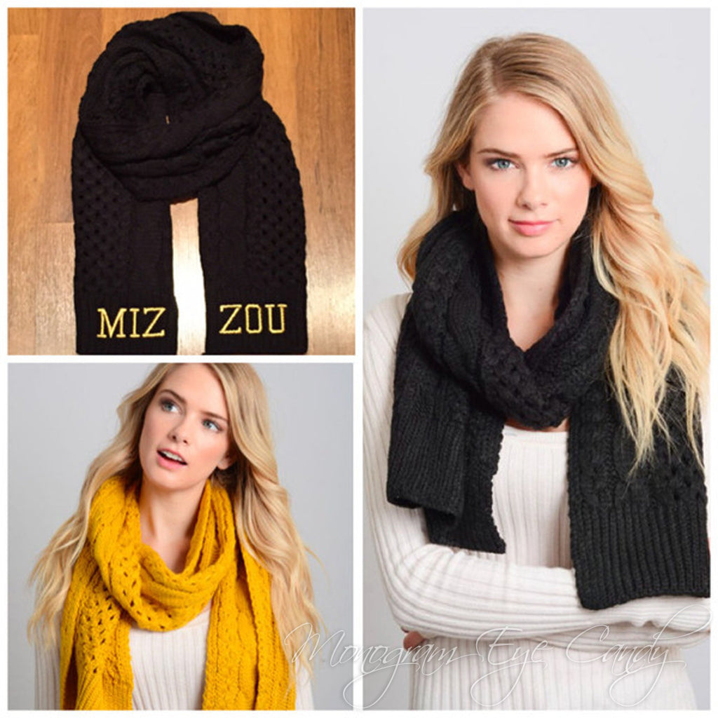 Cable Knit Scarf- MIZZOU Edition
