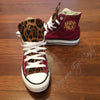 Customized Converse Sneakers- Wine/Cheetah Print