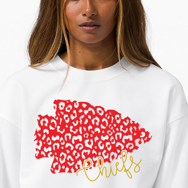 KC Chiefs Crewneck- White Leopard