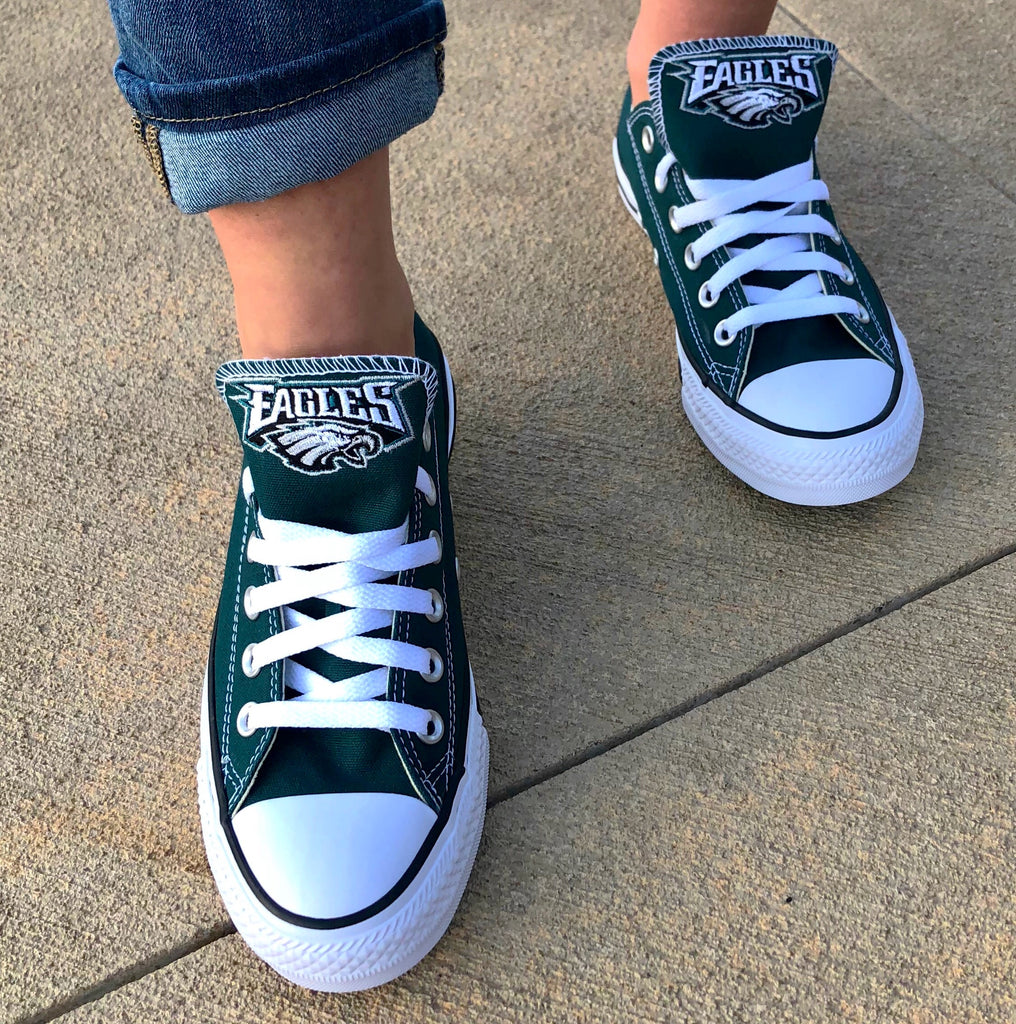 Customized Converse Sneakers- Philadelphia Eagles Edition- Low Top