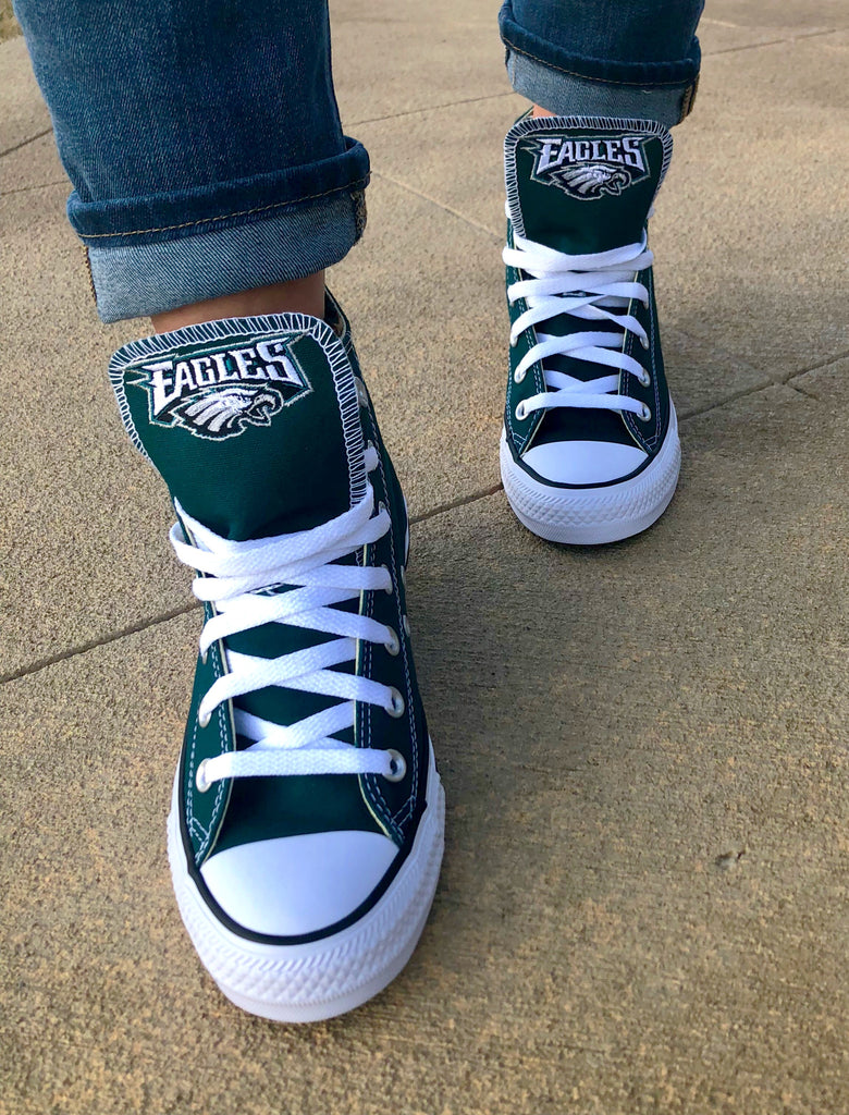 5a0a3d02311c Customized Converse Sneakers- Philadelphia Eagles Edition – Monogram Eye  Candy