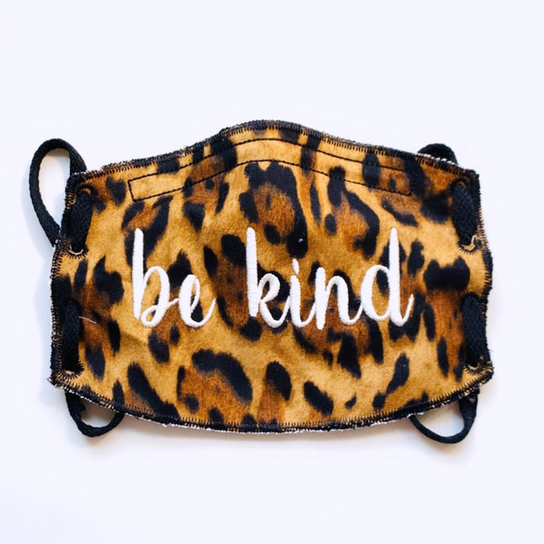 Adult Face Mask-Be Kind-Leopard