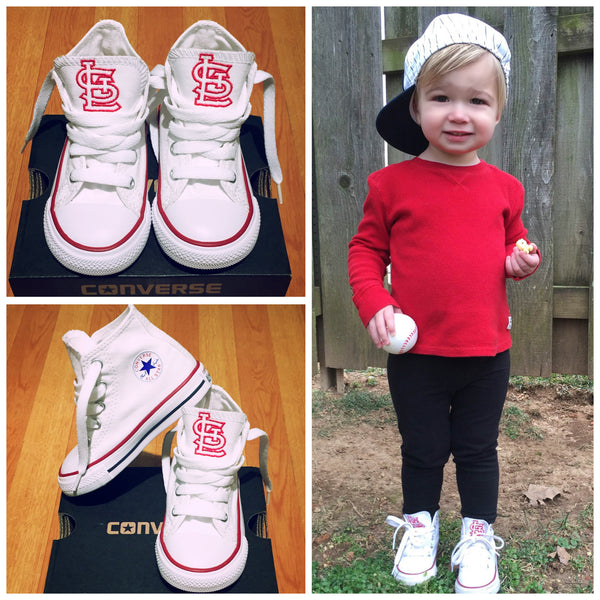 Customized Converse Sneakers- White STL Cardinal (Toddler)