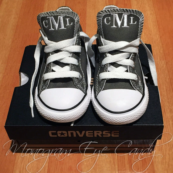 Monogram Toddler Converse Sneakers-Charcoal
