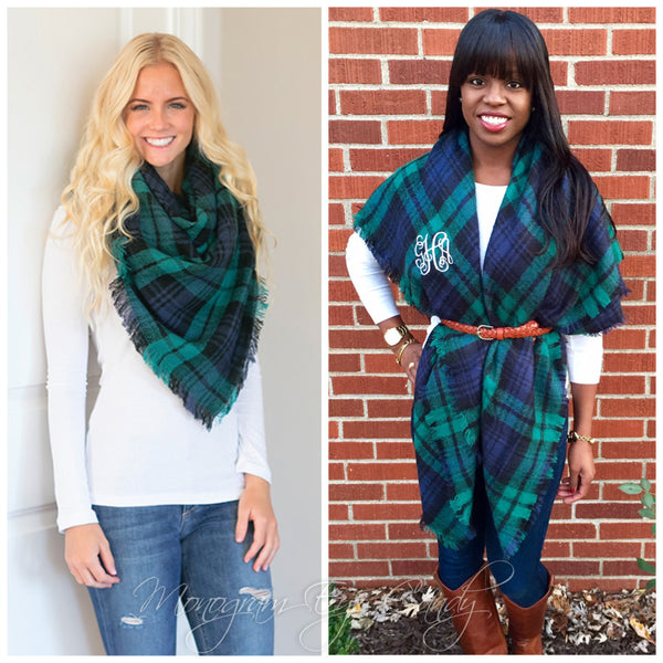 Monogrammed Plaid Blanket Scarf- Green