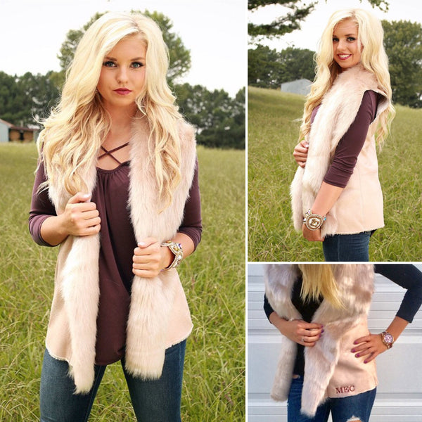 Monogram Luxe Fur Vest-Blush