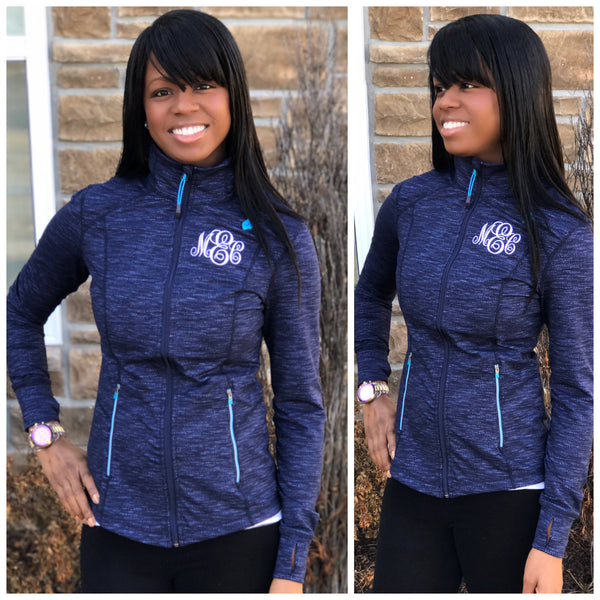 Monogrammed Active Jacket-Navy/Blue