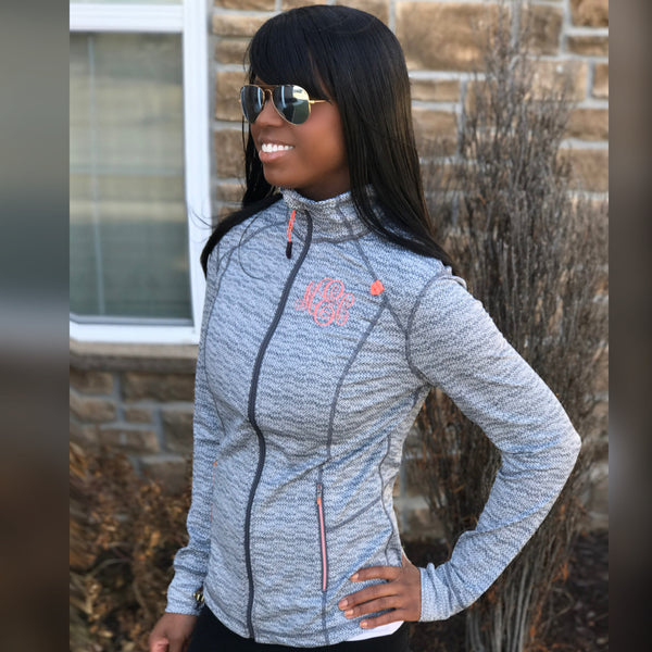 Monogrammed Active Jacket-Coral/Grey