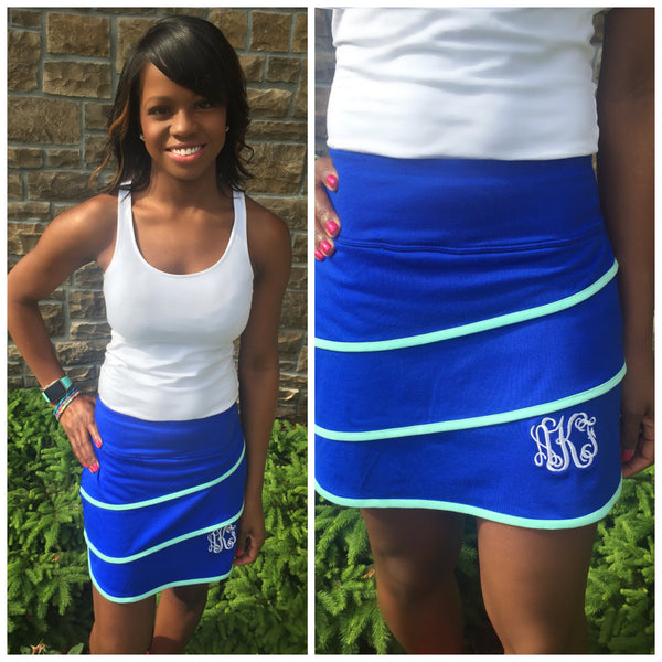 Monogram Tennis Skirt- Royal/Mint