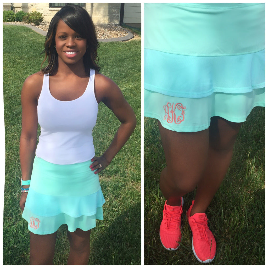 Monogram Tennis Skirt- Mint