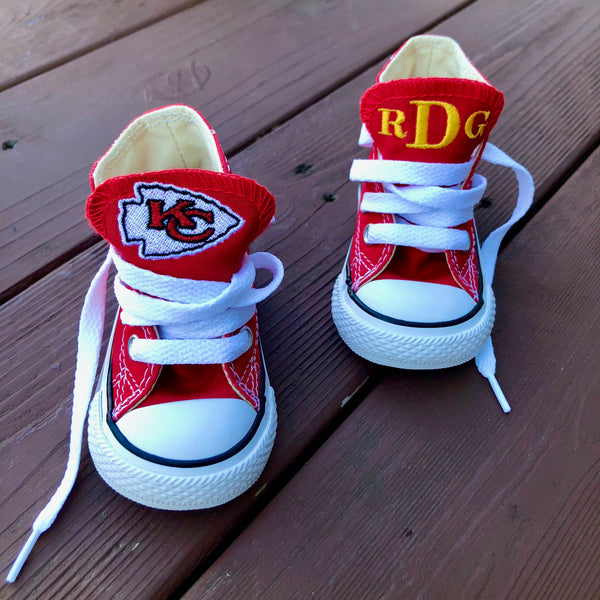 Customized Converse Sneakers- KC Chiefs Edition (Toddler)- Monogram High Top