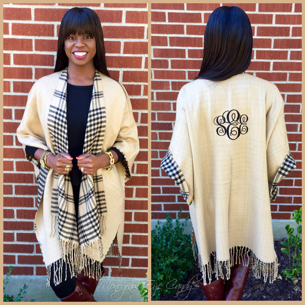 Monogrammed Colorblock Poncho- Plaid/Camel