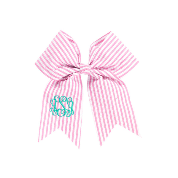 Monogram Hair Bow-Pink Seersucker