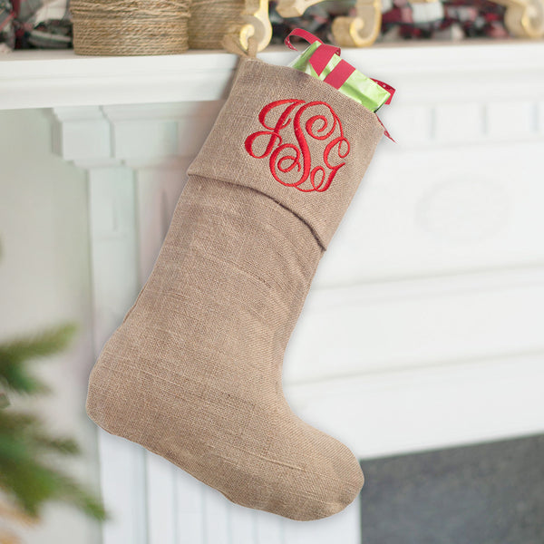 Monogrammed Christmas Stocking-Burlap