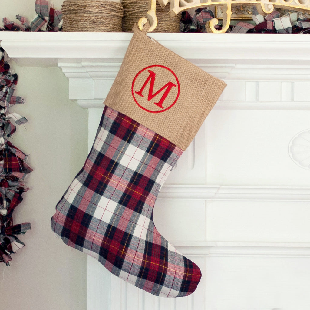 Monogram Christmas Stocking-Winter Plaid