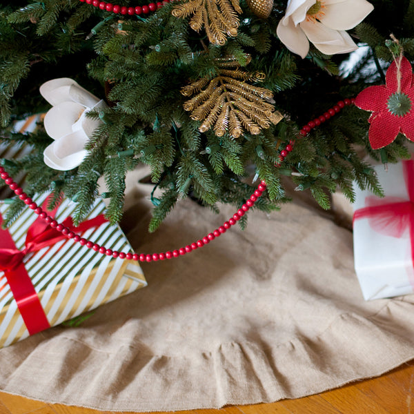 Monogrammed Christmas Tree Skirt-Burlap