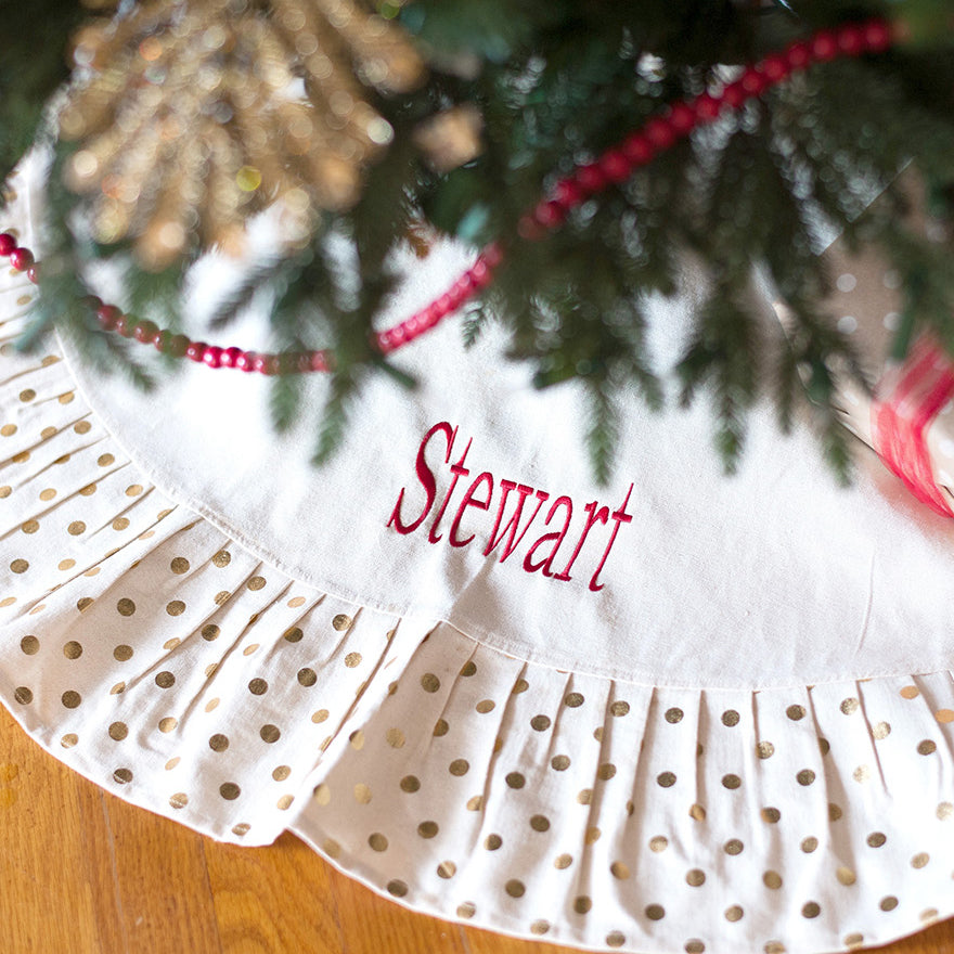 Monogrammed Christmas Tree Skirt-Gold Dot