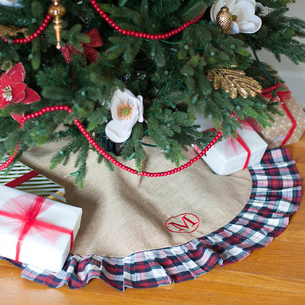 Monogrammed Christmas Tree Skirt-Winter Plaid