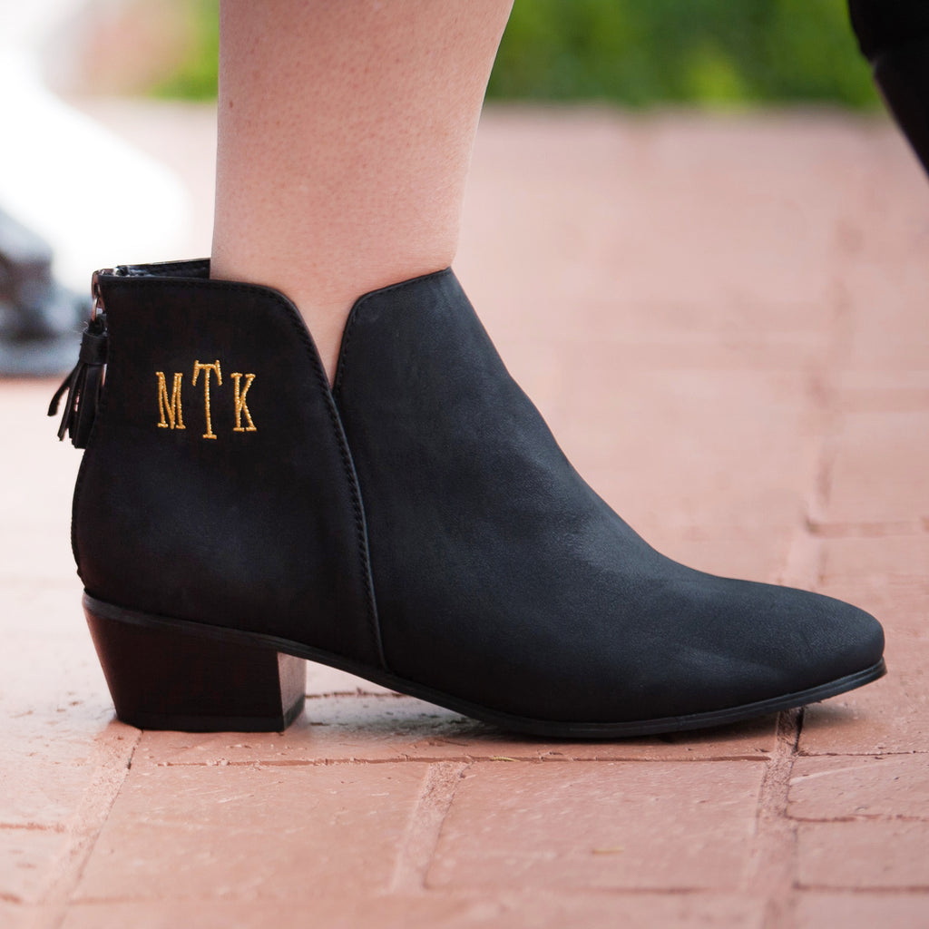 Monogram Short Booties- Black
