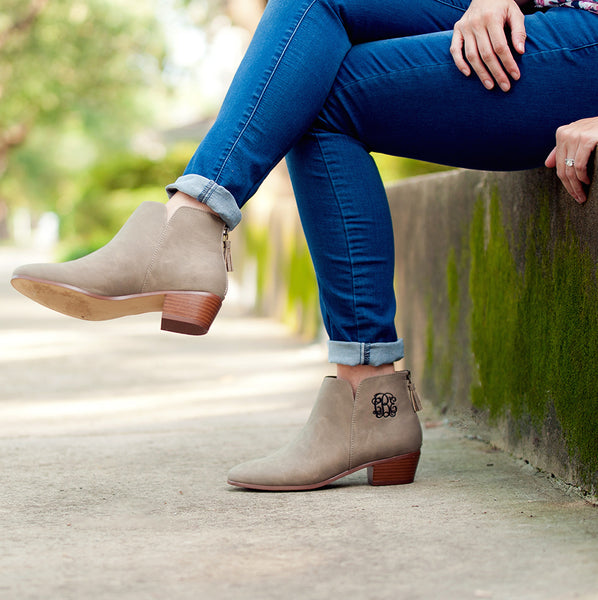 Monogram Short Booties- Taupe