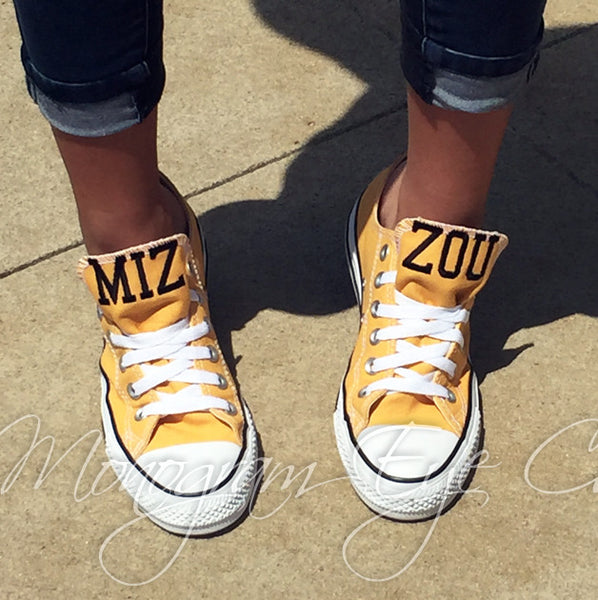 Customized Converse Sneakers-MIZZOU Edition (Mustard)