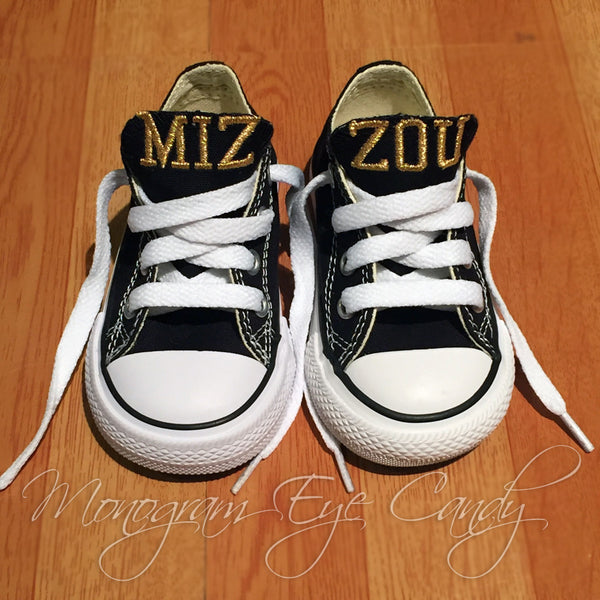 Customized Converse Sneakers- MIZZOU Edition (Baby/Toddler)- Metallic Thread
