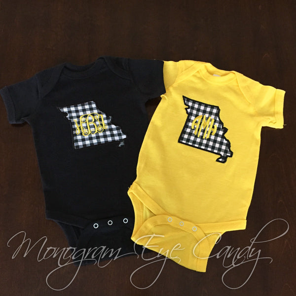 Missouri Applique with Monogram- Onesie or Tee
