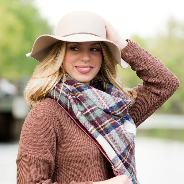Monogrammed Blanket Scarf- Brown Plaid
