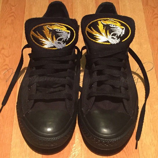 Customized Converse Sneakers-MIZZOU Blackout Edition