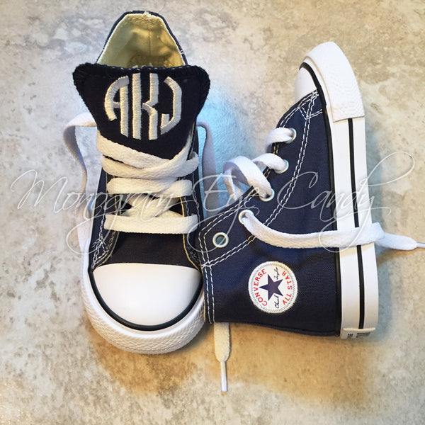 Monogram Toddler Converse Sneakers-Navy