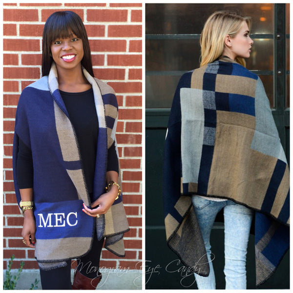 Monogrammed Colorblock Poncho-Navy