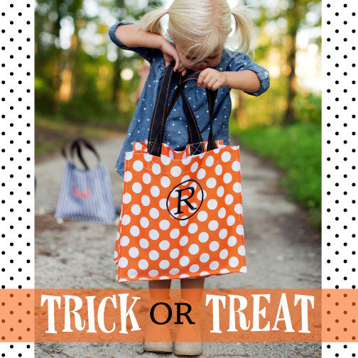 Monogrammed Halloween Tote-Orange Dot