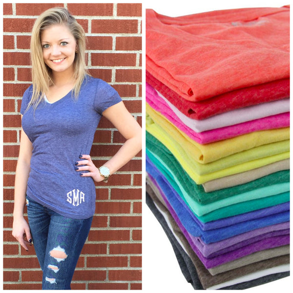 Monogram V-Neck Tee- Select Your Color