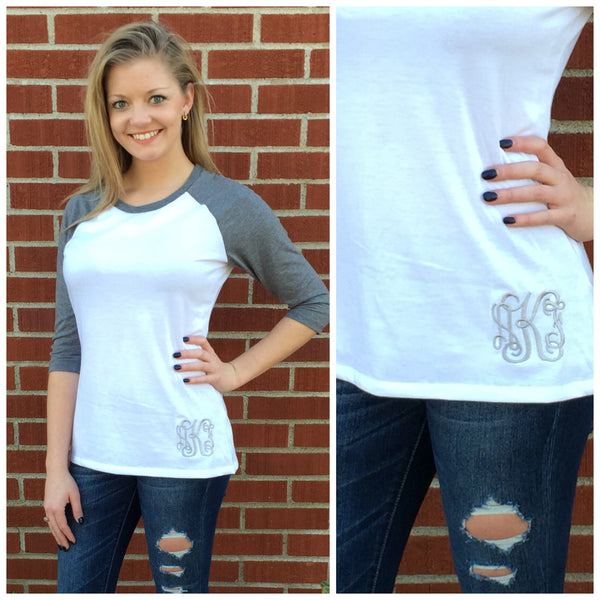 Monogram Baseball Tee- White/Grey