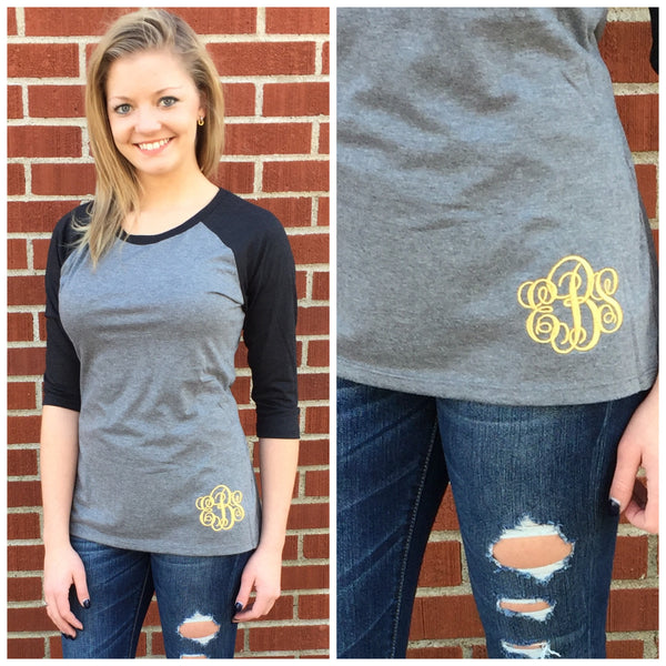 Monogram Baseball Tee- Black/Grey
