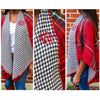 Monogrammed Plaid Poncho- Red
