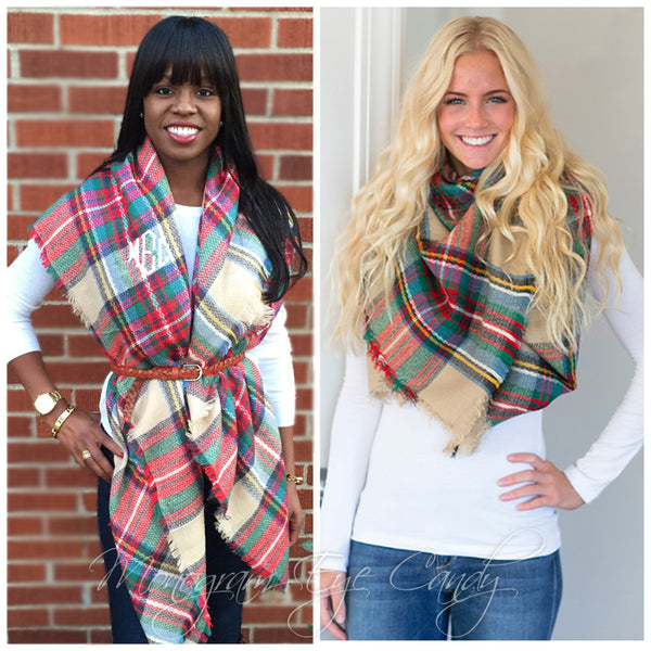 Monogrammed Plaid Blanket Scarf- Cream