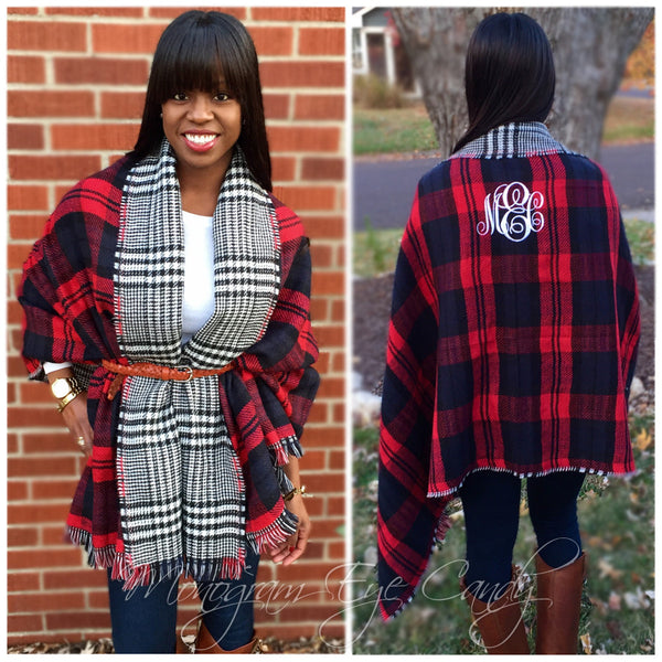 Monogrammed Plaid Blanket Scarf- Red/Black