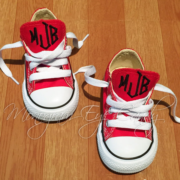 Monogram Toddler Converse Sneakers-Red