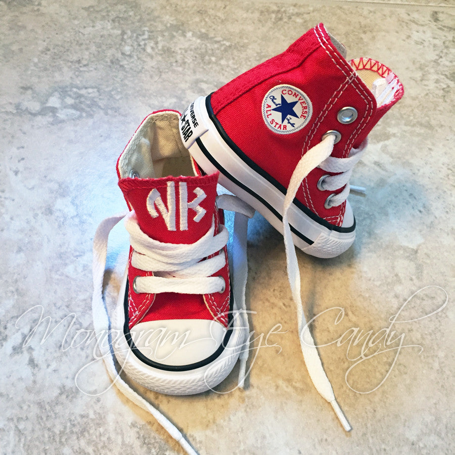 ecd32e1f591aa Monogram Toddler Converse Sneakers-Red