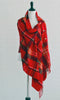 Monogrammed Plaid Poncho-Red