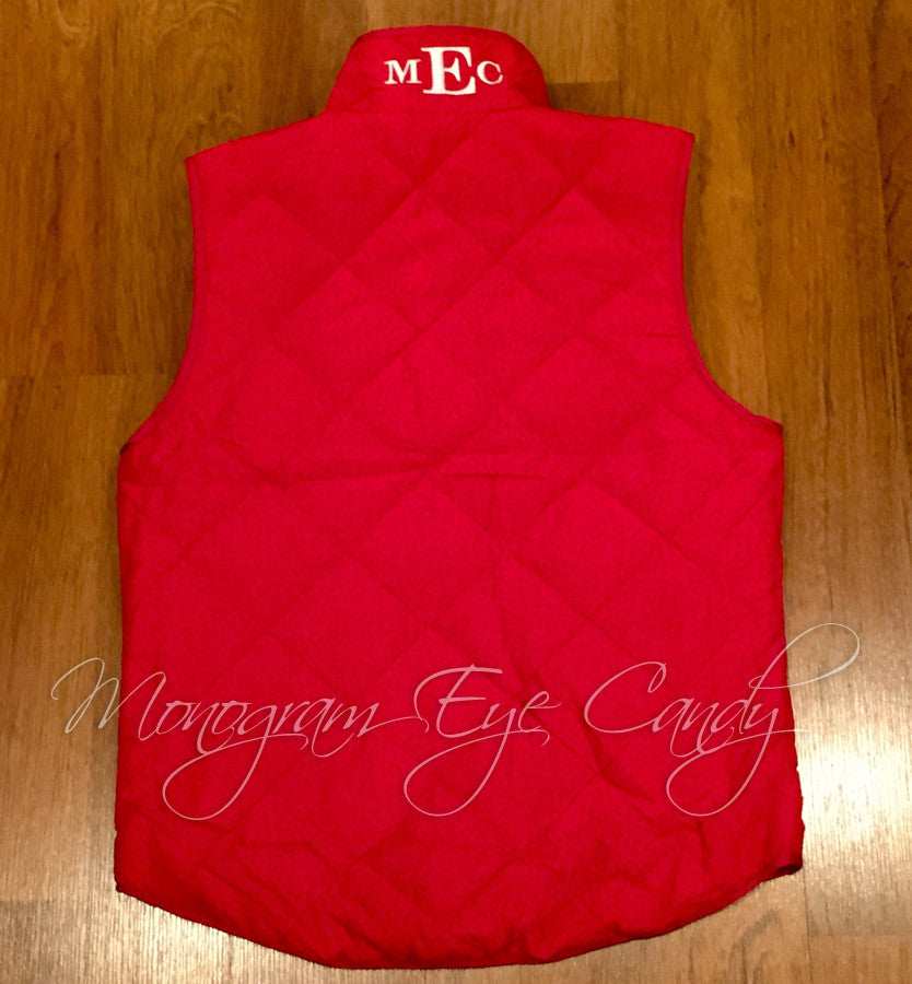 Monogram Quilted Puffer Vest- Red
